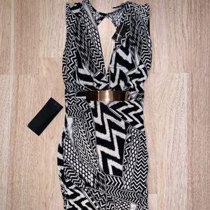 Bebe Peekaboo Print Drappy Dress S